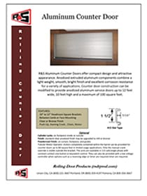 Aluminum Counter Door Specs