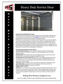 Heavy Duty Service Door Specs